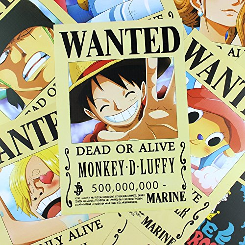 Bluefun Anime One Piece Pirates Wanted Posters 9pcs Set - Style New