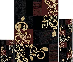 Home Dynamix Area Rugs - Ariana Collection 3-Piece Living Room Rug Set - Ultra Soft & Super Durable Home Décor - HD1879-502 Ebony/Brown