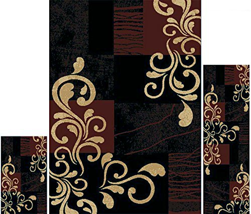 Home Dynamix   Ariana Collection   3-Piece Area Rug Set - Ultra Soft & Super Durable   HD1879-502    EbonyRed