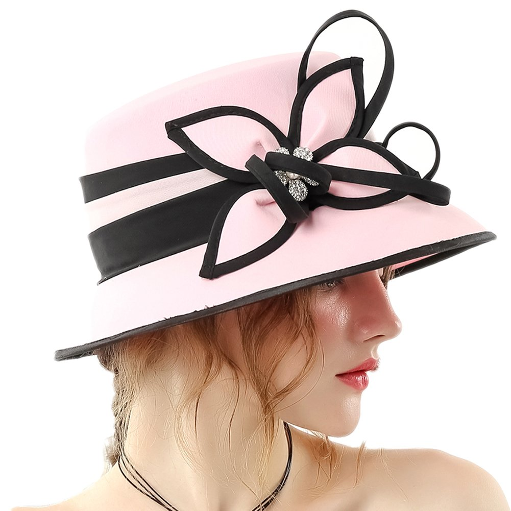 June's Young Women Hat Formal Dress Hat Chiffon Fabric Feather Two Tone Colors (Pink-2)