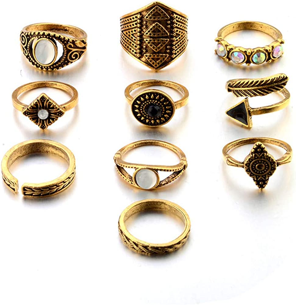 Ciyoon 10pcs//Set Inspiration Ring Decorations Bohemian Vintage Silver Stack Rings Above Knuckle