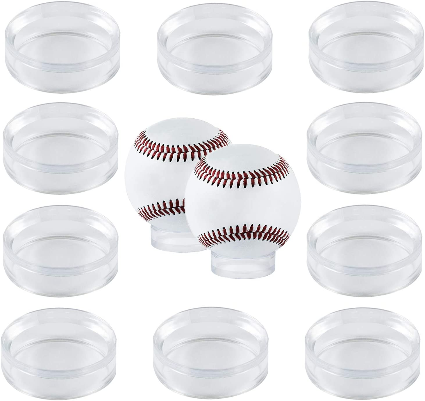 "Houseables Baseball Display, Stand Ring for Ball, 12 Pack, Clear, 1.6"" D x ½ H, 1 5/8"", Acrylic, Softball Displays, Baseballs Holder, Stone Egg Stands, Round Pedestal Rack, Beveled Rings, Balls Case"