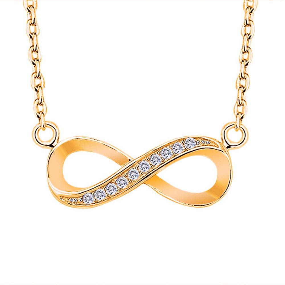 angel3292 Infinite Symbol Shape Rhinestone Inlaid Women Necklace Pendant Decor Chain Gift