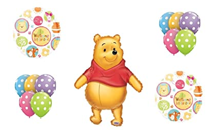 amazon com winnie the pooh baby shower welcome little one polka rh amazon com Classic Pooh Clip Art Winnie the Pooh and Friends Clip Art