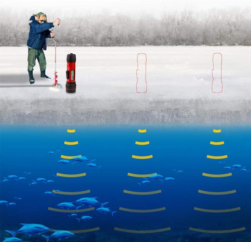 NBCDY Ecoscandaglio Portatile per Pesci ghiacciati con Display Digitale Sonar con sensore trasduttore Portata di 90 m Adatto per Attrezzatura da Pesca Invernale Ice Fiumi Laghi o Mare