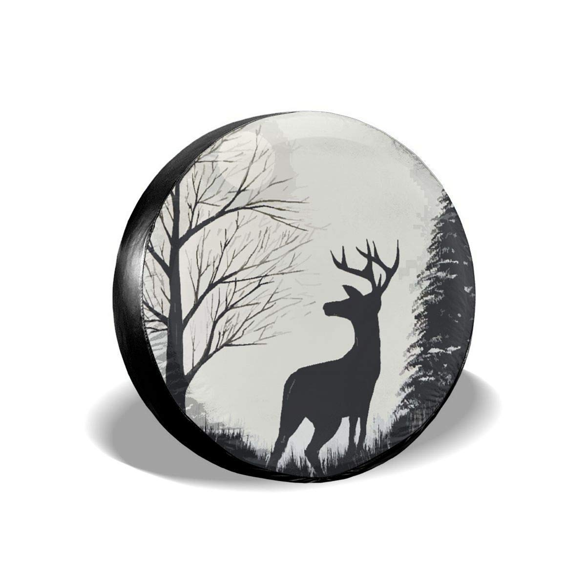 Vbnbvn Reserveradabdeckung Deer Painting Polyester Universal Dust-Proof Corrosion Protection Wheel Covers for Jeep Trailer RV SUV Truck Camper Travel Trailer Accessories 14,15,16,17 Inch