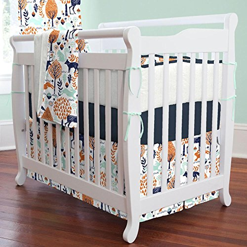 Portable Crib Skirt Box - Carousel Designs Navy and Orange Woodland Animals Mini Crib Skirt Box Pleat