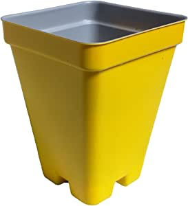 "2.5"" Deep Press Fit Flower Pots - Made in USA - Premium Quality, Reusable, Recyclable - Garden, Hydroponics, Seed Starting, Tomatoes (Actual Dimensions 2.6"" Square By 3.44"" Deep) (Yellow, 216)"