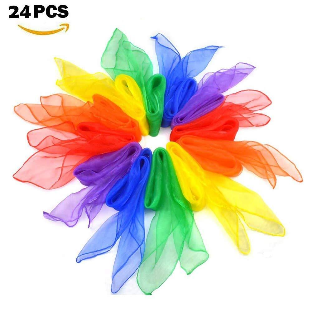 Hitasche Sciarpe di Giocoleria Danza Juggling Magiche Sciarpe 60 x 60 cm per Bambini 24 Pezzi