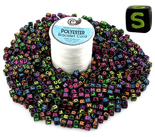 800-Bead Set of Letter Beads + Bracelet Making Stretch Cord Spool; DIY Craft Square Alphabet 6mm Cubes & 50 Yards White Jewelry String (Black Beads, Multicolored Letters)