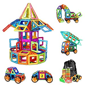 130 PCS Magnetic Blocks with Wheels,Magnetic Building Blocks Set
