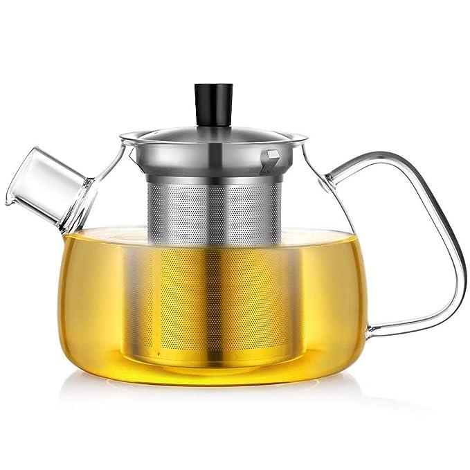 Glastal Glas Teekanne 1500ml mit 18//10 Edelstahl Teesieb Gro?e Borosilicate Glas Teebereiter auf Stove Glaskanne mit Entfernbar Seib