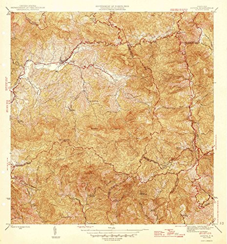Puerto Rico Maps - 1946 Jayuya, PR USGS Historical Topographic Map - Cartography Wall Art - 44in x 44in