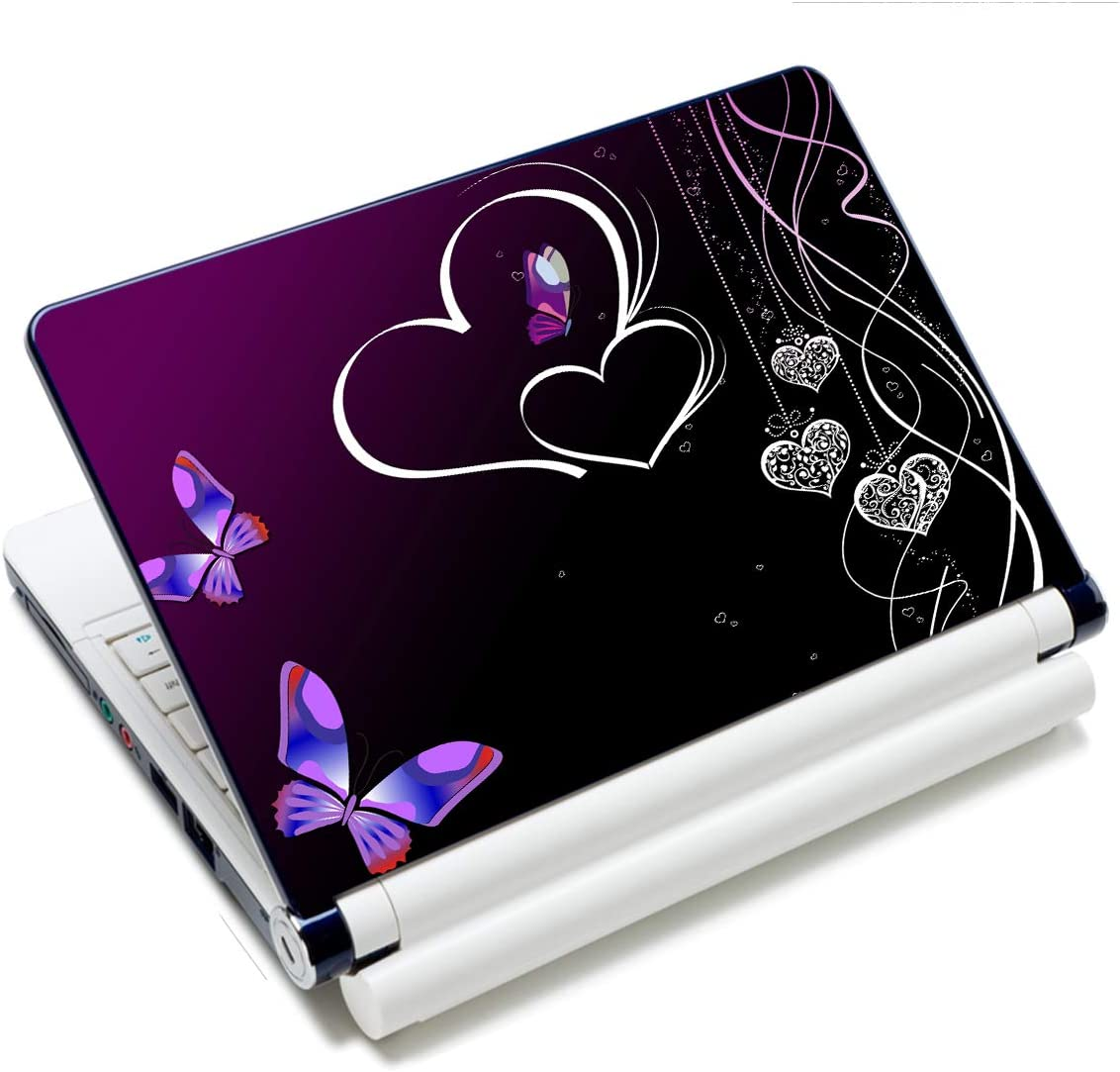Laptop Stickers Decal,12 13 14 15 15.6 inches Netbook Laptop Skin Sticker Reusable Protector Cover Case for Toshiba Hp Samsung Dell Apple Acer Leonovo Sony Asus Laptop Notebook (Butterfly & Hearts)