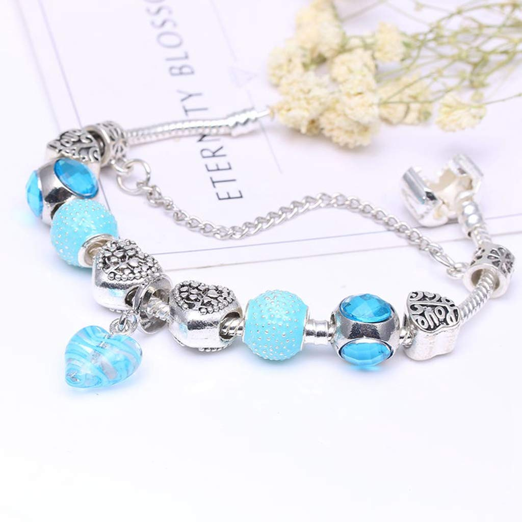 Stylish Girl Antique Silver Charm Bracelet Bangle with Love Heart Crystal Ball for Women Wedding Jewelry Gift