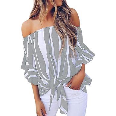 Zottom ✿ Camisa de Rayas para Mujer, sin Hombros, Cintura y ...