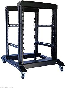 Raising Electronics Server Rack Open Frame Rack 4 Post 19 inch Adjustable Server/Audio Rack Cold Rolled Steel(15U,17 Depth)