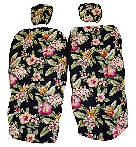 Hawaiian car seat cover with Separated Headrest, Colorful Black Set of 2 Front Bucket Seat Covers