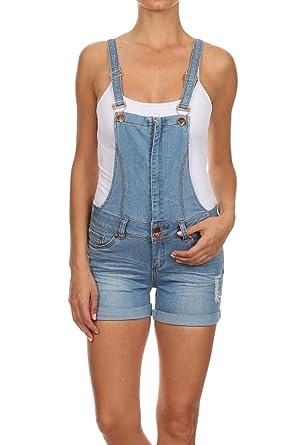 eeedc61db240 Amazon.com  Clash Jeans Light Blue Distressed Juniors Denim Jeans Shorts  Jumpsuit Overall Romper  Clothing