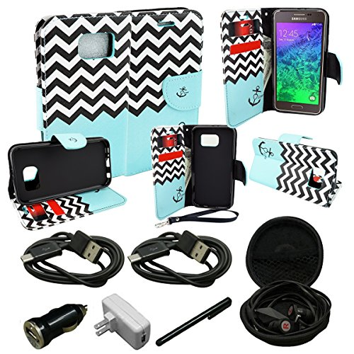 Mstechcorp - Samsung Galaxy S6 - [Kickstand Feature] Wallet Case Credit Card Bill Holder Book Fold - Includes [Car Charger] + [Touch Screen Stylus] + [Hands Free Earphone With Carrying Case] + [2 Data Cables] (ANCHOR TEAL)