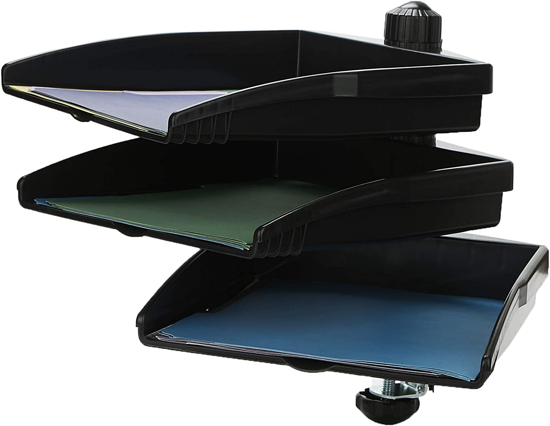 Mind Reader SWIVTRY3-BLK Platform Swivel 360 Degree Documents Tray, Desktop Organizer, Sorter, File Folder Holder, Black Rotating