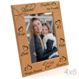 Kate Posh - My Awesome, Cool, Favorite, Loving Aunt - Engraved Natural Photo Frame - I Love My Aunt Picture Frame - Aunt Gifts - Aunt Gifts for Mother's Day (4x6 Vertical)