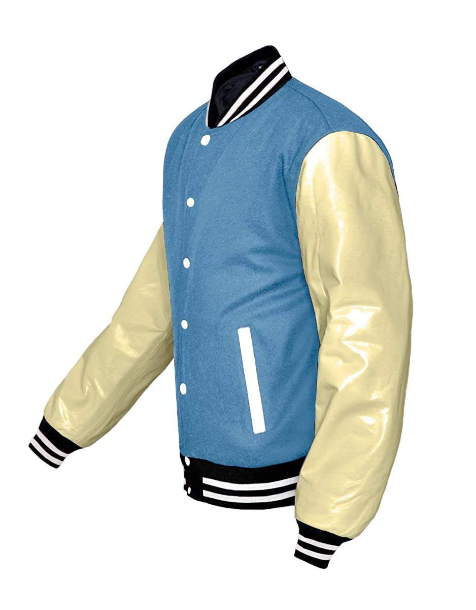 luvsecretlingerie Original American Varsity Real Cream Leather Letterman College Baseball Kid Wool Jackets #C-W-W