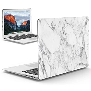 iBenzer Old MacBook Pro 13 Inch case A1278, Soft Touch Hard Case Shell Cover for Apple MacBook Pro 13 with CD-ROM, White Marble,MMP1301WHMB