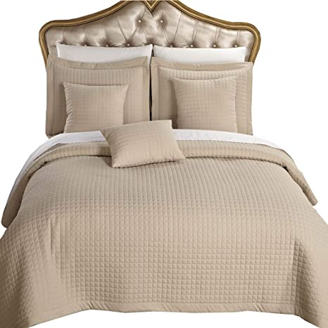 Queen size Gray Coverlet 3pc set Luxury Checkered Quilt by Royal Hotel Full