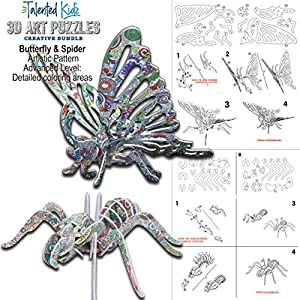 10-PACK Coloring 3D Puzzle Set: 10 Different 3-D Puzzles Models + 48 Gel Pen Markers. Best Arts and Craft Gifts, Art Color & Builder STEM Toys f/Girls 10 &Up. High IQ Educational Gift by Talented Kidz