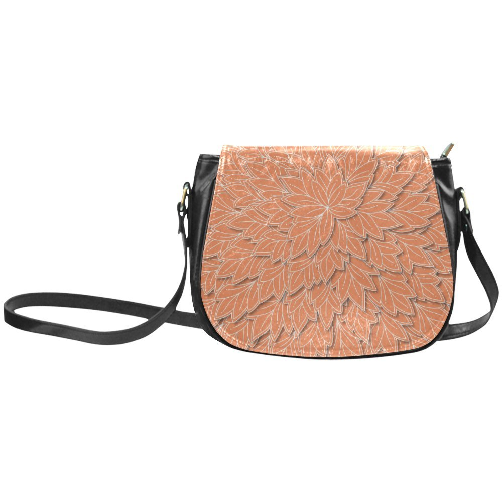 Fashion Women And Girls Colorful Floating Leaf Pattern Orange White Classic Saddle Bag/Shoulder Bag/Handbag SD-188