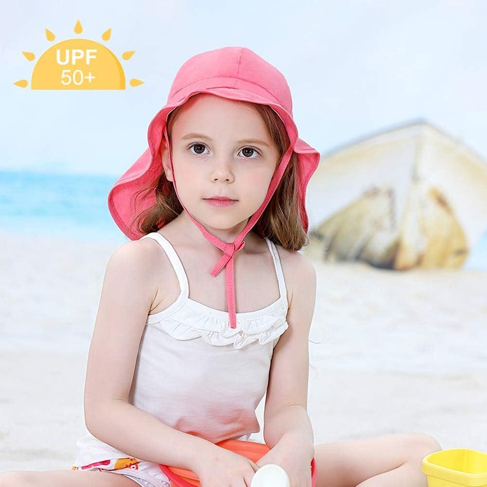 Lazzon Estate Cappello da Sole Bambini Bambine Spiaggia Cappuccio con Protezione Collo per Vacanze attivit/à Allaperto