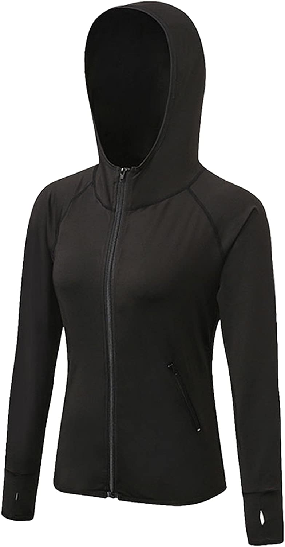 US M, Black Tailloday Womans Active Yoga Sweatshirt Full Zip Fitness Compression Training Running Long Sleeve T-Shirt Hooded Jacket