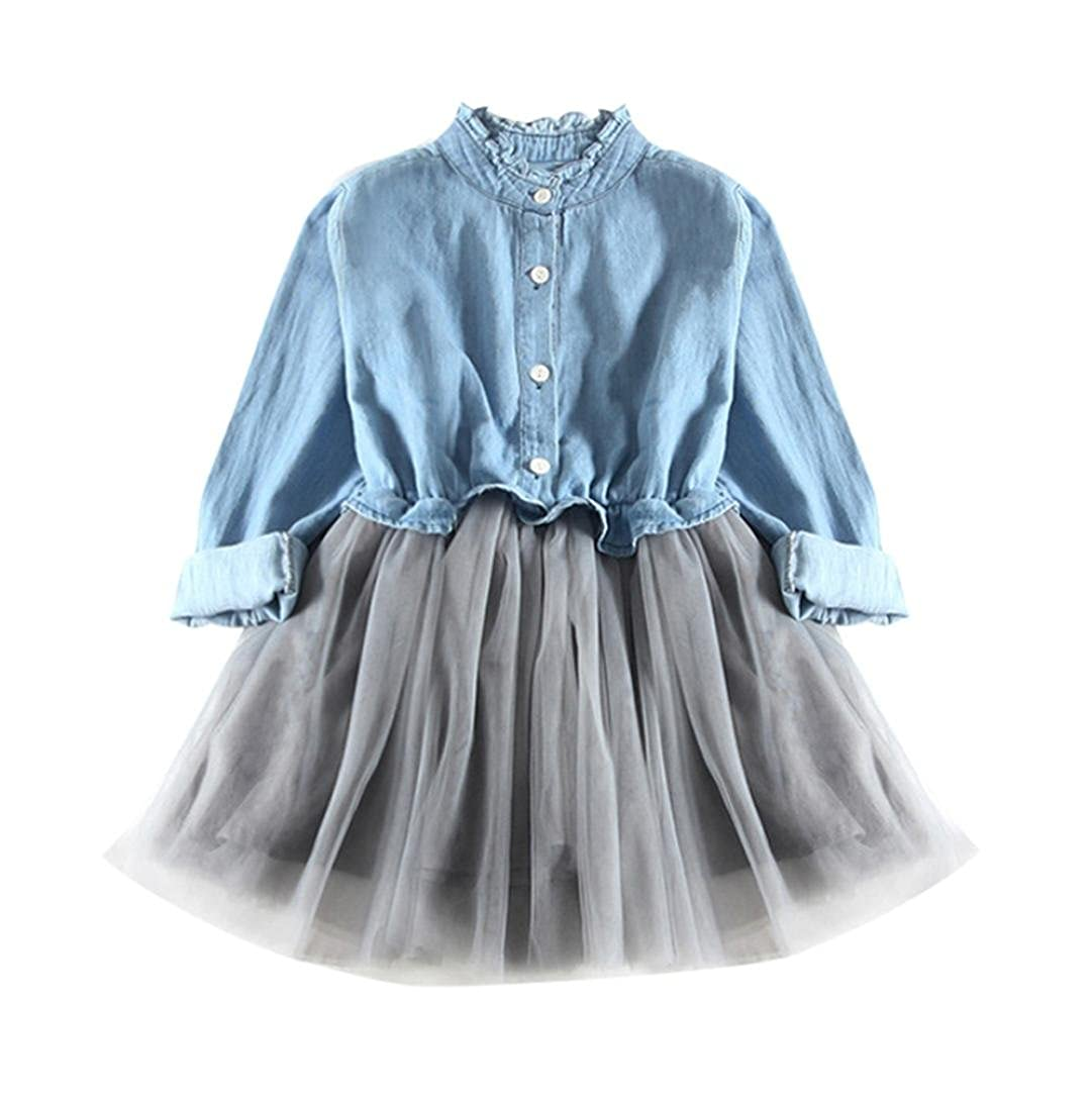 FEITONG Toddler Little Girls Denim Dress Long Sleeve Princess Tutu Dress Cowboy Clothes kids girls skirt