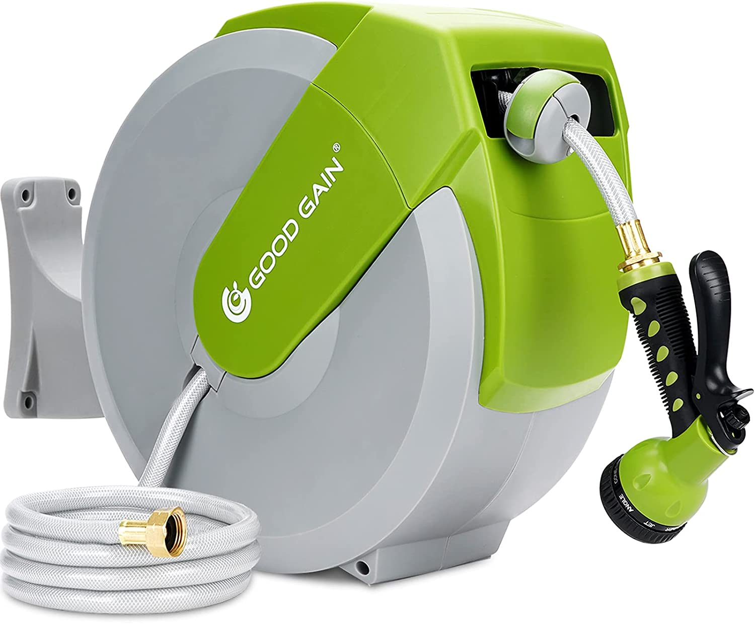 Retractable Garden Hose Reel,82+7ft Auto Rewind Water Hose Holder,180°Swivel Bracket Wall Mounted Water Hose Reel,Slow Return System, Any Length Lock,9 Patterns Hose Nozzle for Yard Watering, Car Wash