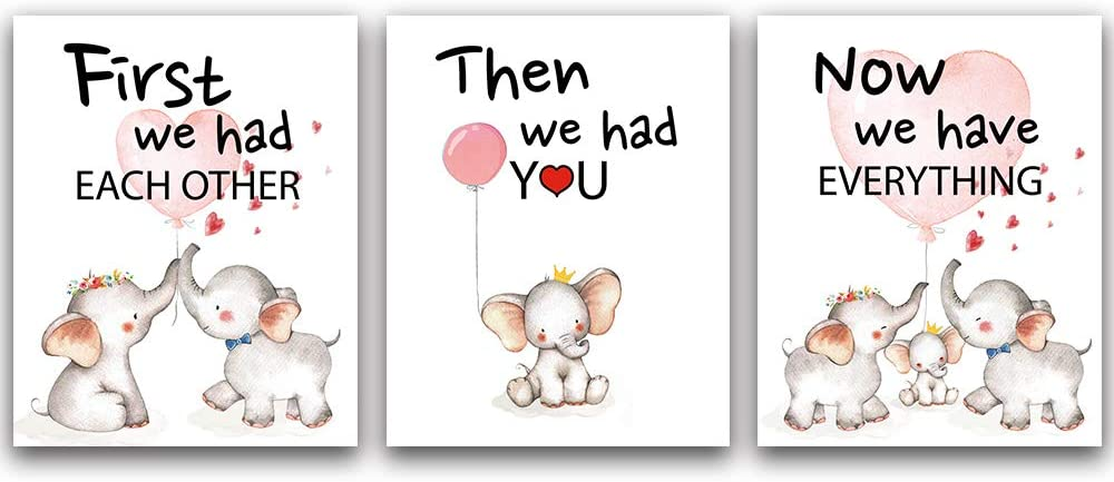 "CHIEN-CHI LILI Lovely Balloon Baby Elephant Family Watercolor Art Print Set of 3 (8""X10""), Cute Animals Love Quote Wall Art Poster, Living Room Bedroom Home Decor Nursery Art Canvas"