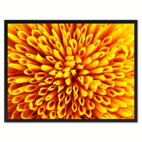 Yellow Chrysanthemum Flower Framed Canvas Print Floral