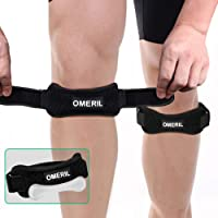 OMERIL 2 Pack Knee Brace, Knee Strap Brace with Silicone Insert, Pain Relief Patella...