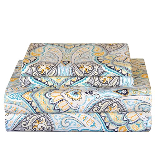 OSK 3 Piece Girls Cypress Blue Yellow Paisley Sheet Twin XL Set, Light Blue Color Floral Bohemian Pattern Kids Bedding for Bedroom, Modern Contemporary Flower Motif Teen Themed, Cotton Percale