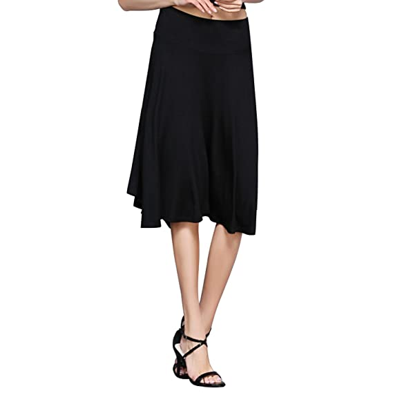 HIKA Women's Solid Elastic Waist Flared Midi Skirt Medium Black