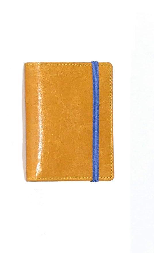 Piamonte - Cartera de Piel Completa Classics 1028; con Billetera, Tarjetero y Cala Libre, Desplegable [Handmade] - Amarillo Mostaza + Azul China