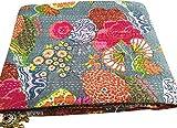 Grey Flower Print Queen Size Kantha Quilt, Kantha Blanket, Bed Cover, Kantha bedspread, Bohemian Bedding Kantha Size 90 Inch x 108 Inch