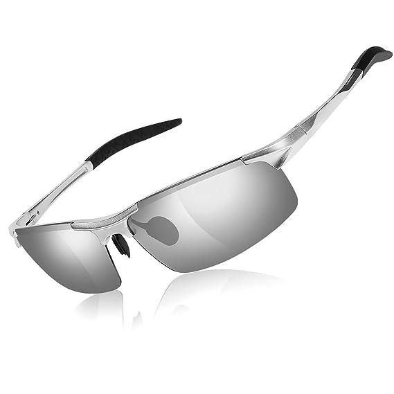 Moda para hombre que conduce gafas de sol polarizadas - Gafas rectangulares para hombre Marco de metal Al Mg Ultra ligero 100% UVA Protección UVB para ...