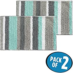 """mDesign Soft Microfiber Polyester Non-Slip Rectangular Spa Mat Rugs, Plush Water Absorbent, Striped - for Bathroom Vanity, Bathtub/Shower, Machine Washable - 34"""" x 21"""" - Pack of 2, Mint Green/Gray"""