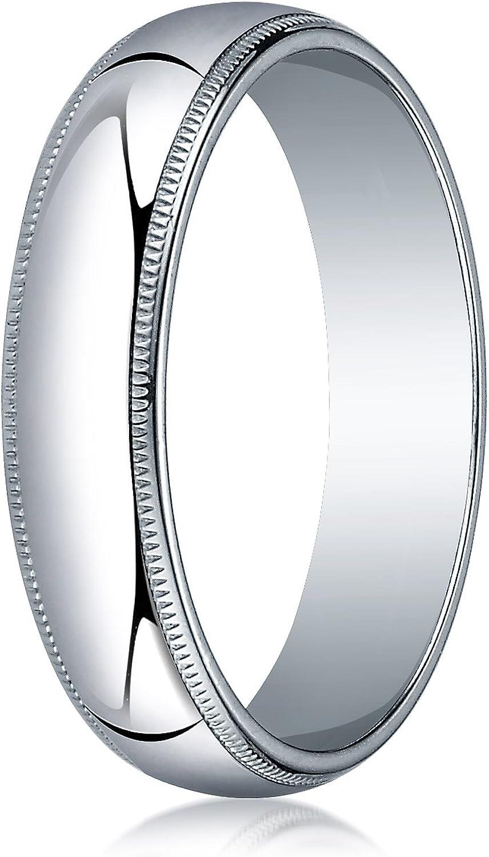 Men's 14K White Gold 5mm Traditional Domed Milgrain Wedding Band Ring
