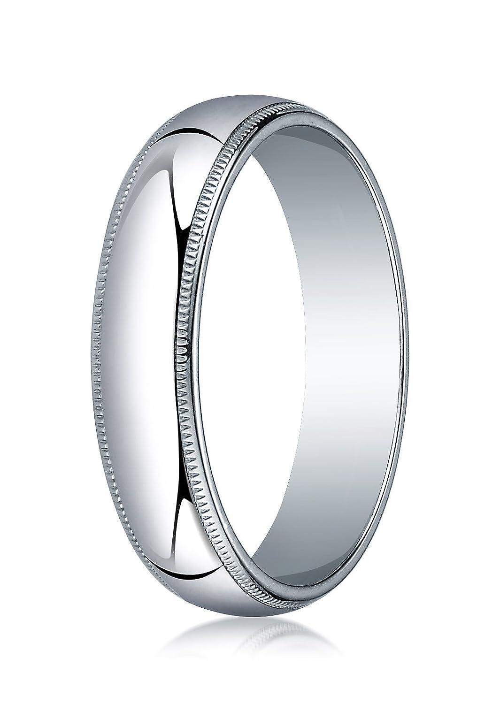 Mens 10K White Gold 5mm Traditional Domed Milgrain Wedding Band Ring