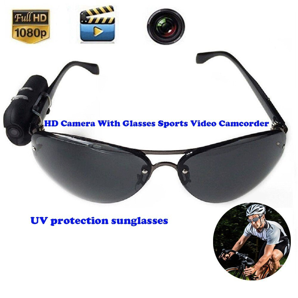Bybest New Arrival HD Camera With Glasses Sports Video Camcorder Mini DV Wearable Vidicon On The Glasses Legs Video Recorder Athlete's favorite companionUnlimited unlimited recording