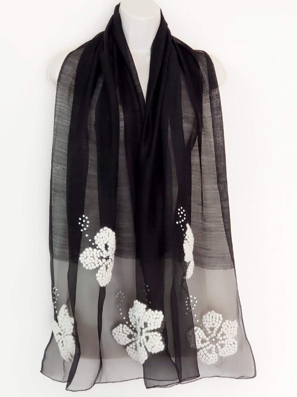 Festive Butterfly in Ivory Flowers Silk Wool Scarf  bluee Star Intl