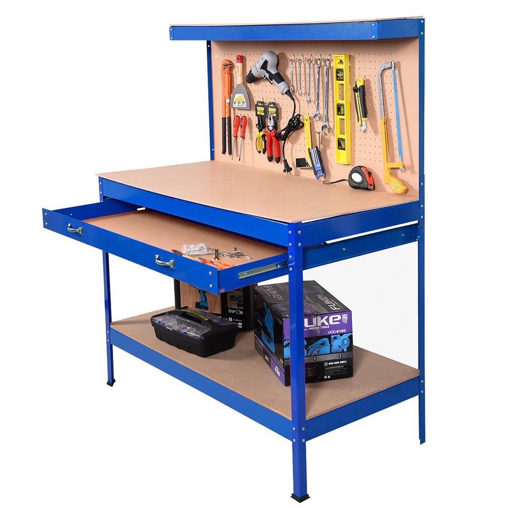 Steel Frame Workbenches Tool Storage Workshop Table Tools Table by BestMassage (Image #3)