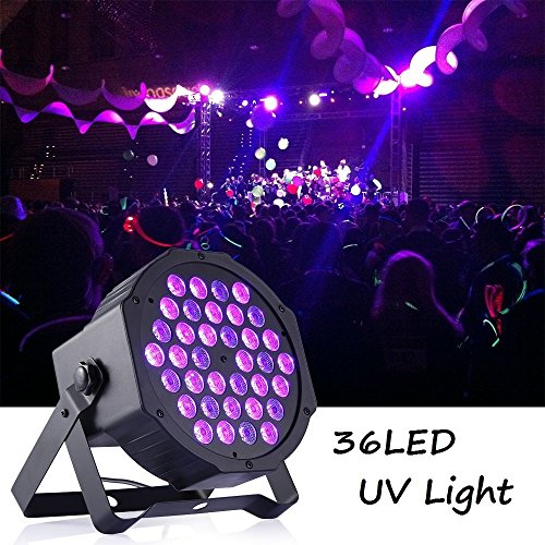 Gledto 36LED Blacklight UV LED Stage Light Par Lights DMX Black Light Fixture DJ Lighting Equipment Purple Lamp for Glow Party Neon Paint Wall Decor Dance Floor Disco Bar Concert Karaoke Show (Floor 7 Halloween Special)